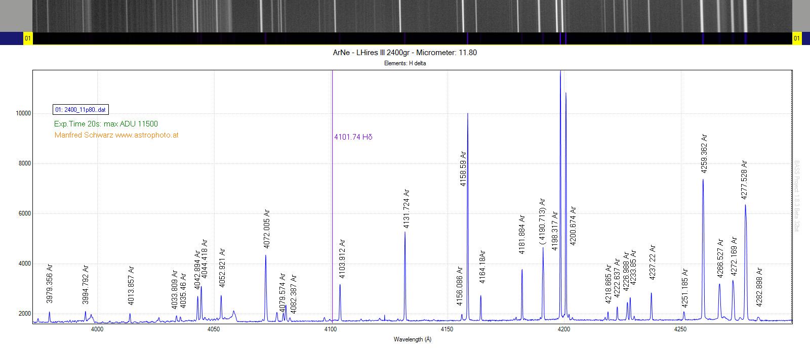 Spectrum of calibration lamp Argon-Neon - Astrophoto for Argon Spectrum  557yll
